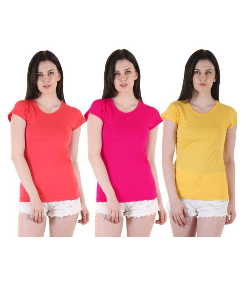 Famaya Cotton Multi Color T-Shirts