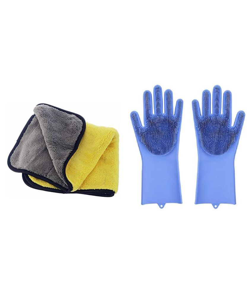 Microfiber Cloth And Rubber Gloves Cleaning For Home,Office,Table,Kitchen For Clean Everything microfiber cloth for cleaning cookware