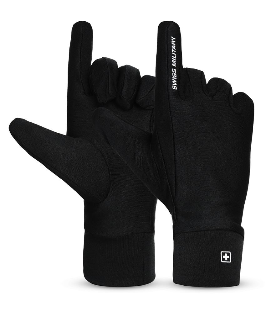 Swiss Military Scuba material water -repellent & Washable hand Gloves Large size Black Color