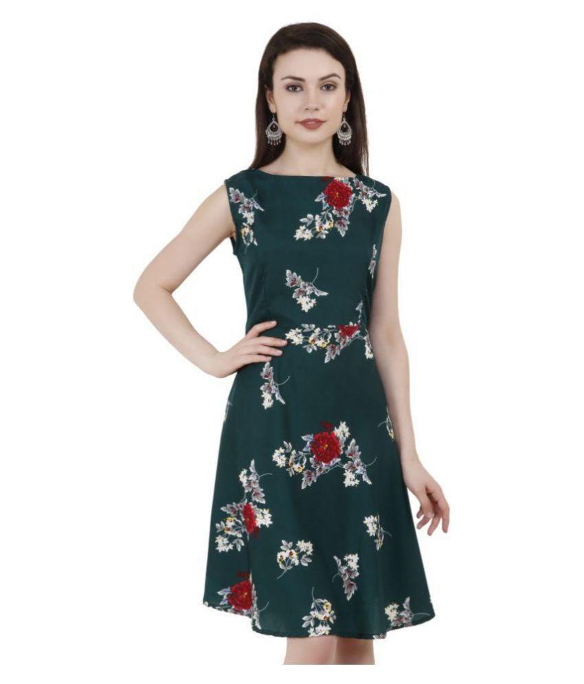 Exxelo Crepe Green A- line Dress