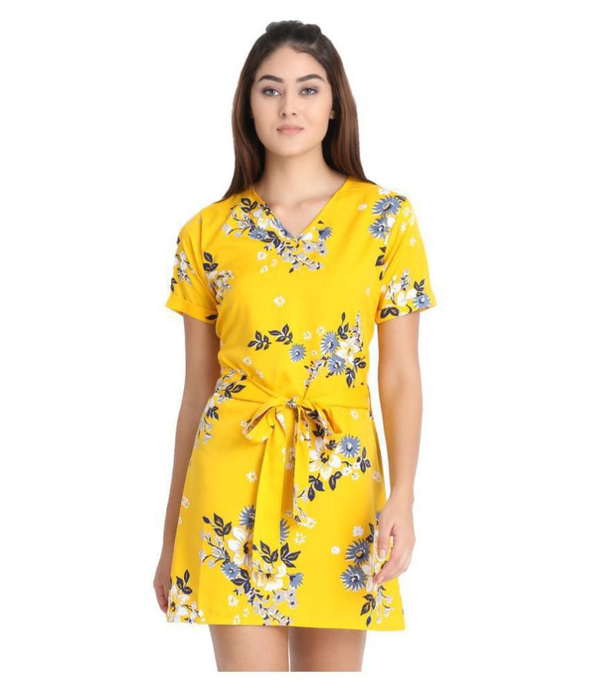 Exxelo Crepe Yellow A- line Dress