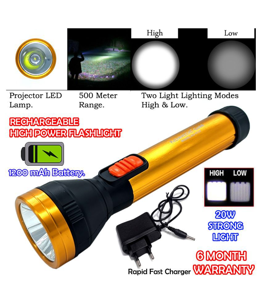 P KG Gold 2 Mode 500 Meter Range Rechargeable Waterproof LED Security 20W Flashlight Torch Outdoor Search Light - Pack of 1