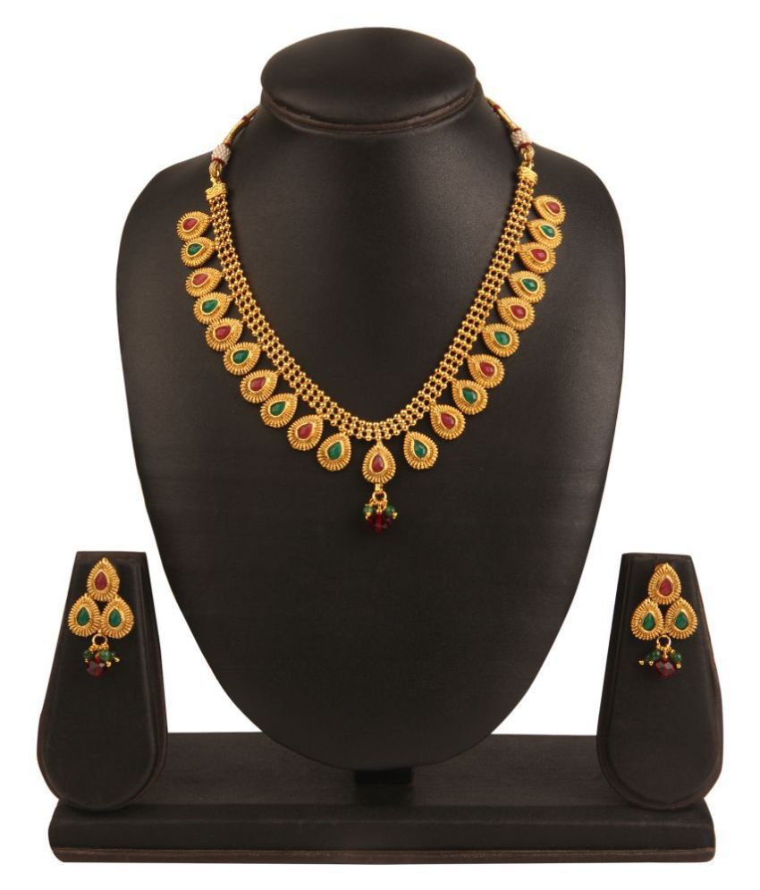 Kord Store Alloy Multi Color Choker Traditional Gold Plated Necklaces Set