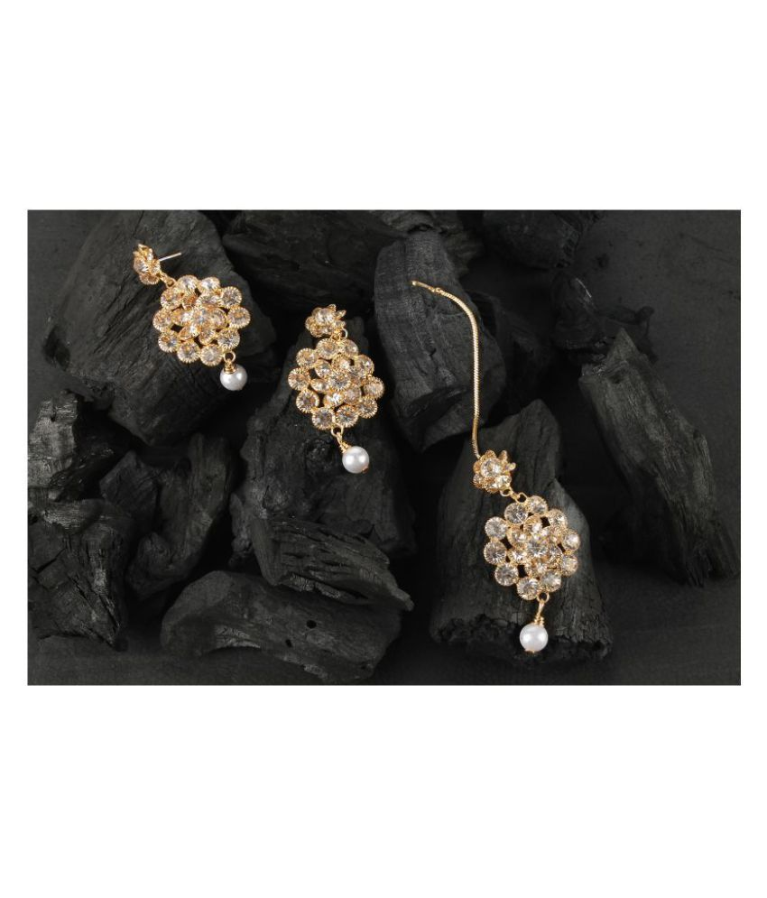 Kord Store Beautiful Round Shape White Stone Gold Plated Dangle Earring With Mangtikka For Women