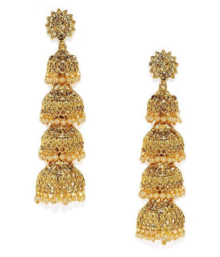 Kord Store Glimmery Flower Latkan Pearl Gold Plated Jhumki Earring For Women
