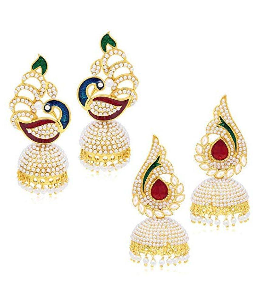 Kord Store Royal Peacock Pearl & Meenakari Work Gold Plated Set Of 2 Combo Jhumki Earring For Women