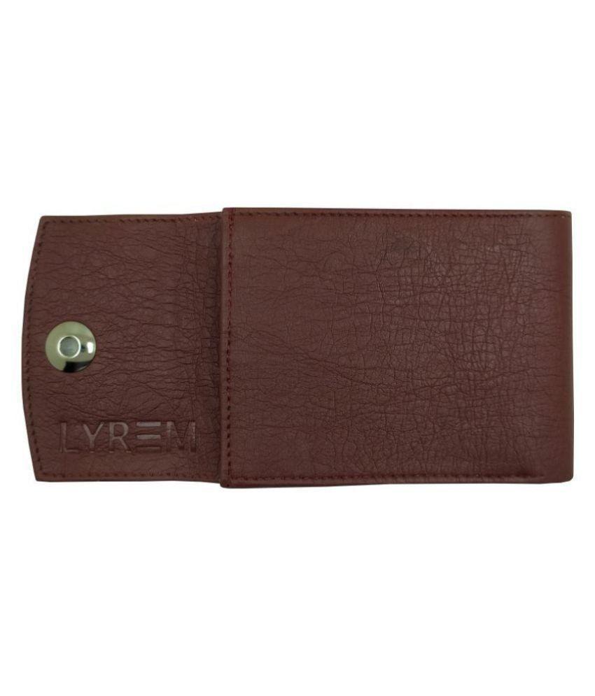 LYREM PU Brown Formal Regular Wallet