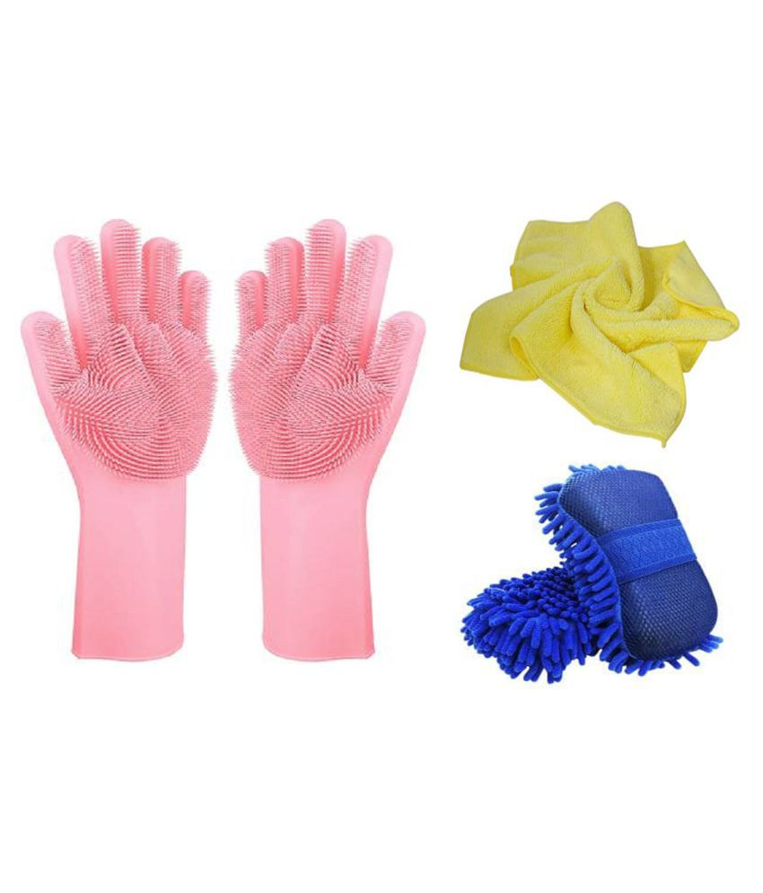Microfiber Cloth,Rubber Gloves And Cleaning Sponge For Office,Kitchen,home needs all items cleaning