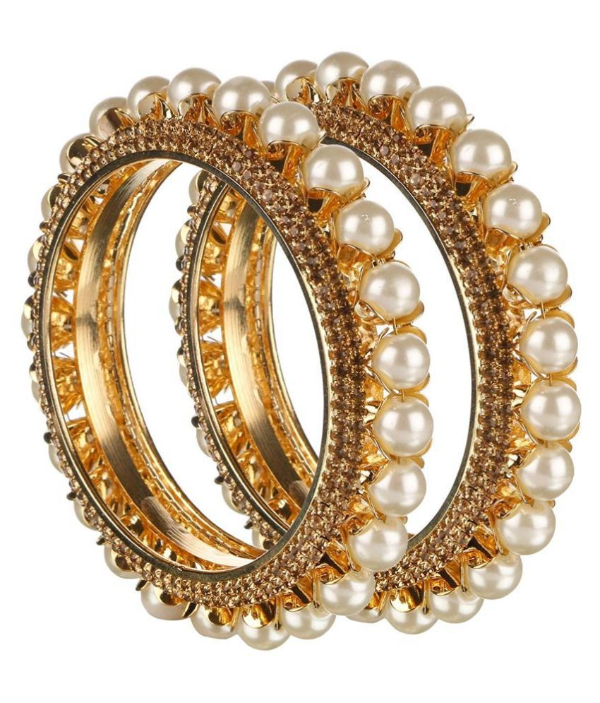 Kord Store Fabulous Pearl Bead Design Lct Stone Gold Plated Set of 2 Bangle for Women