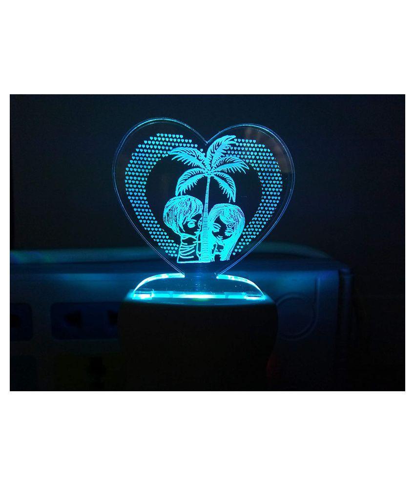 Pawan 3D Illusion Love Couple Designer Night Lamp Night Lamp Multi - Pack of 1