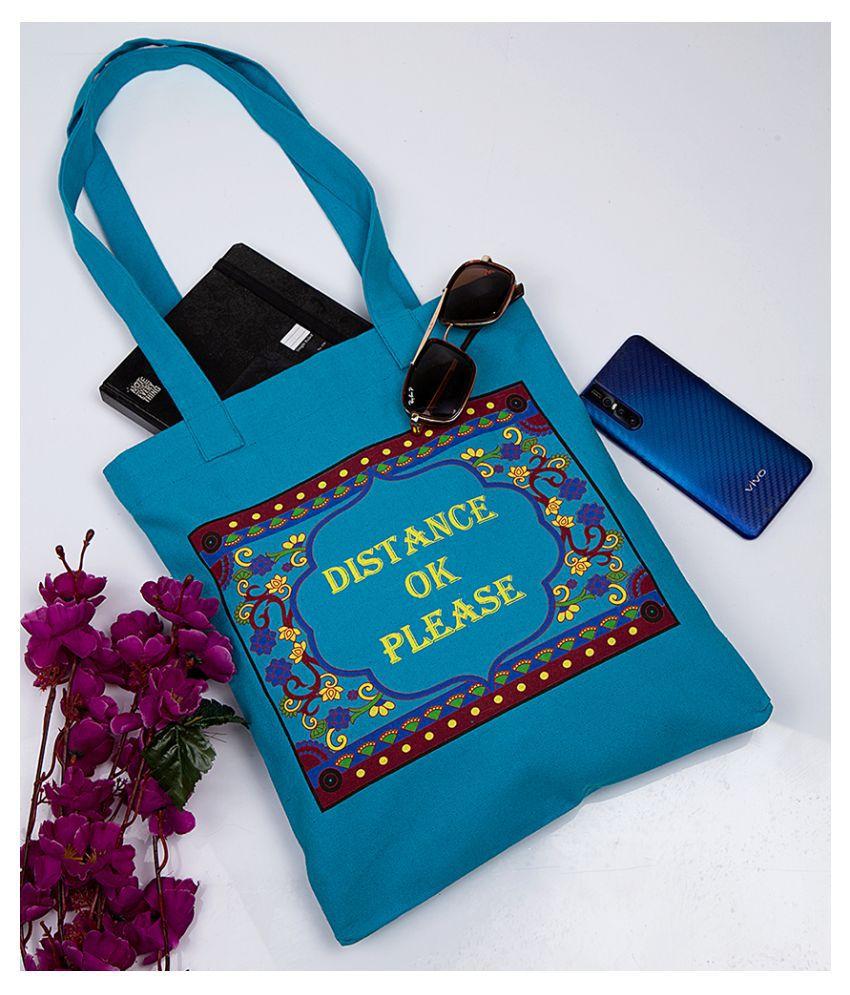 Voylla Blue Canvas Cloth Tote Bag