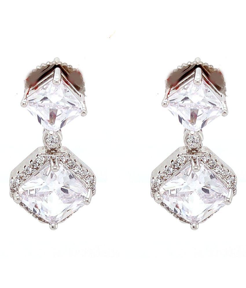 Fancy Brass Silver Plated Stud Earring For Women Brass Stud Earring