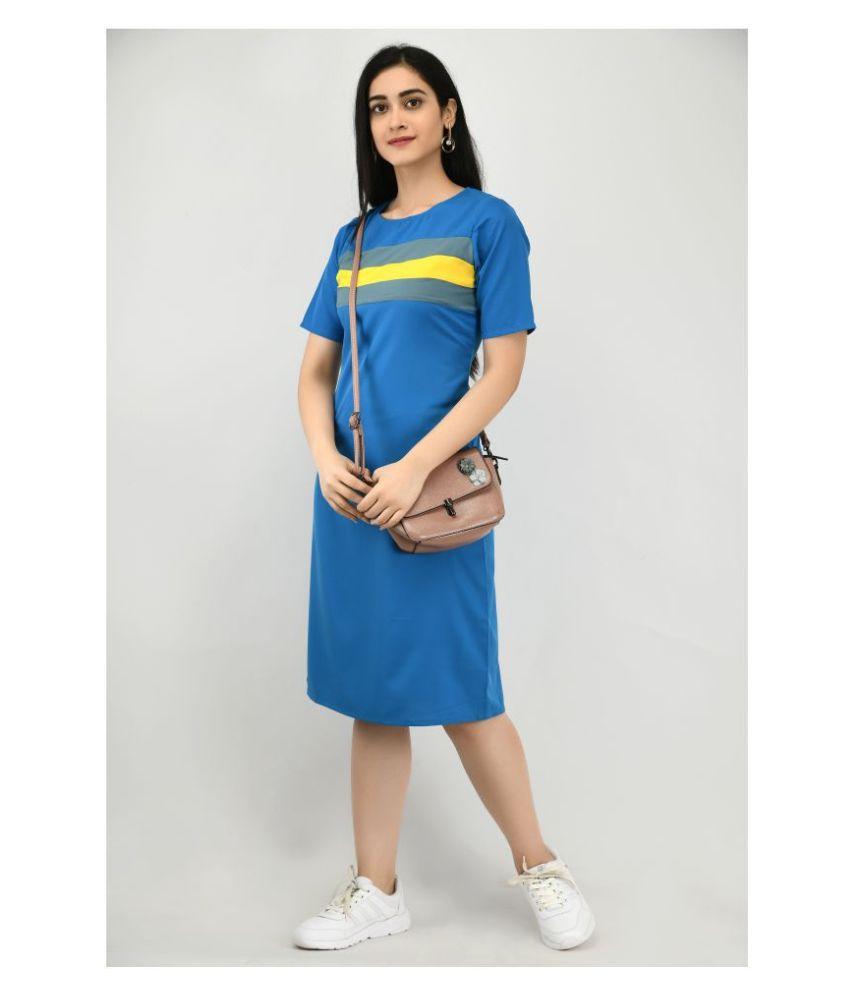 ALISHA_FASHION Crepe Blue Shift Dress