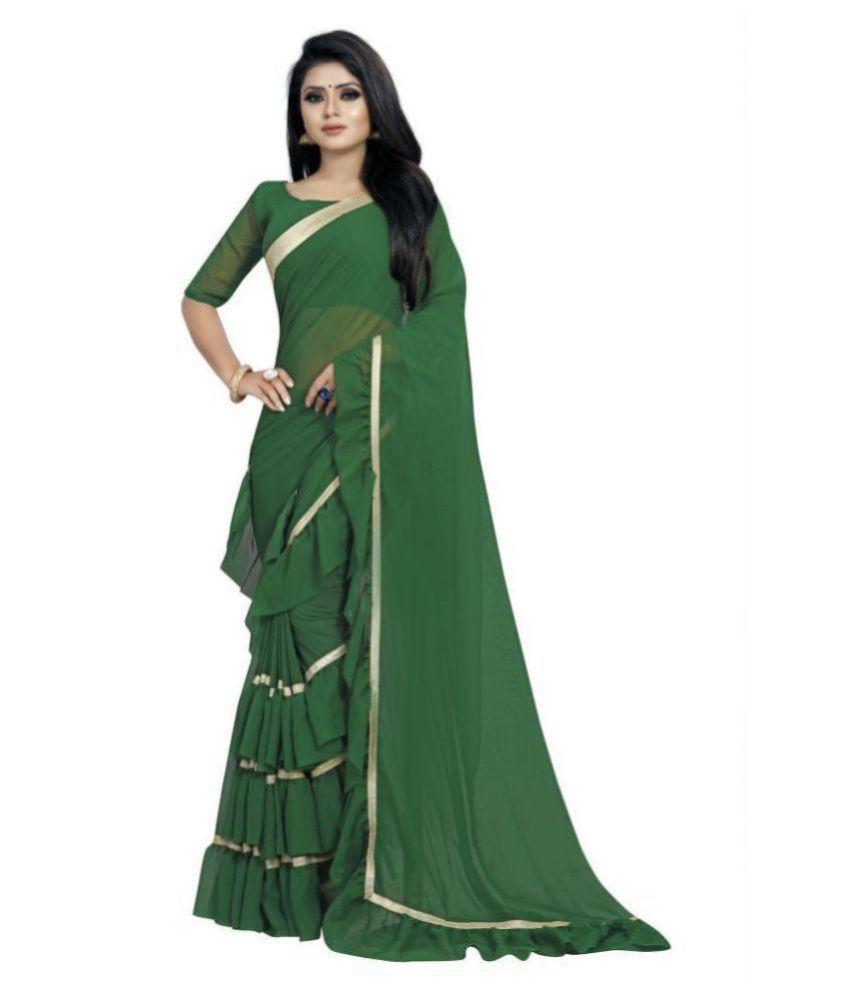 Anjaneya Sarees Green Georgette Saree