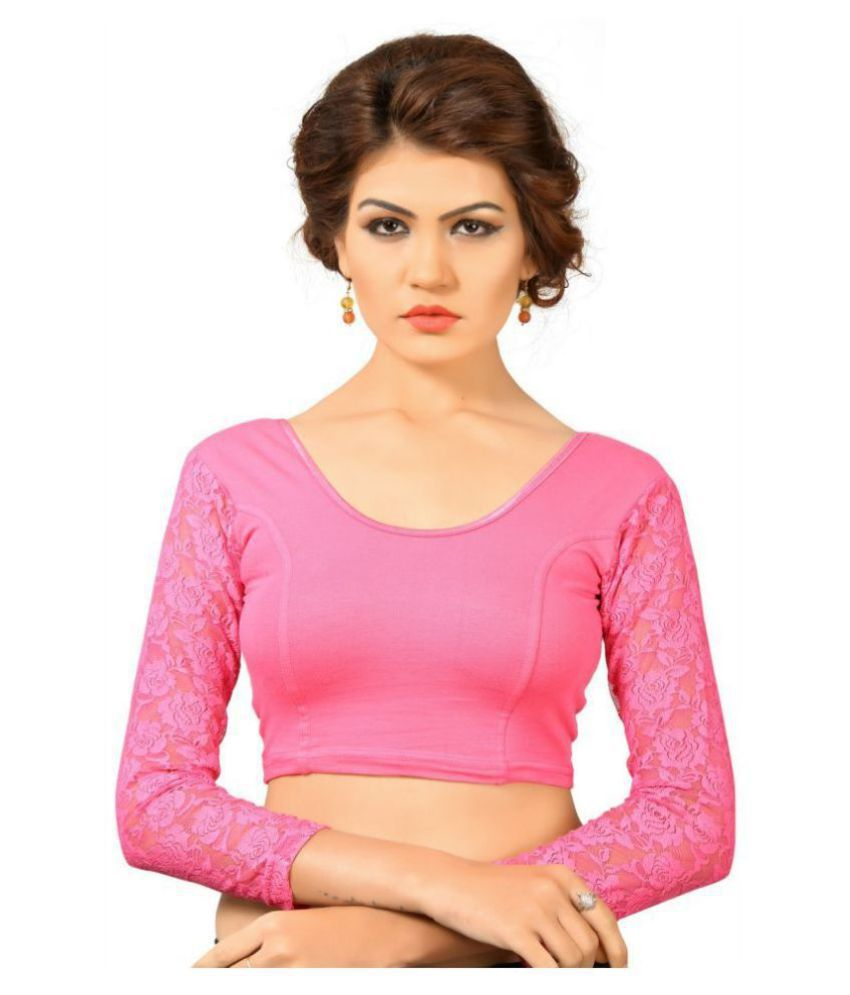Bulbul Pink Lycra Readymade without Pad Blouse