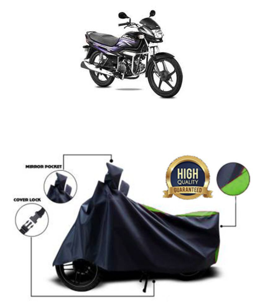 QualityBeast two wheeler cover for Hero Super Splendor iSmart (Green, Black)