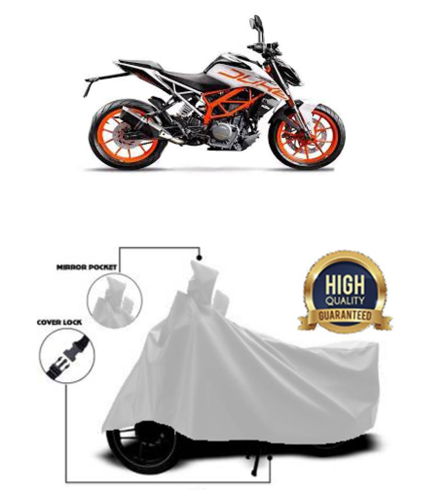 QualityBeast two wheeler cover for KTM 390 Duke (Silver)