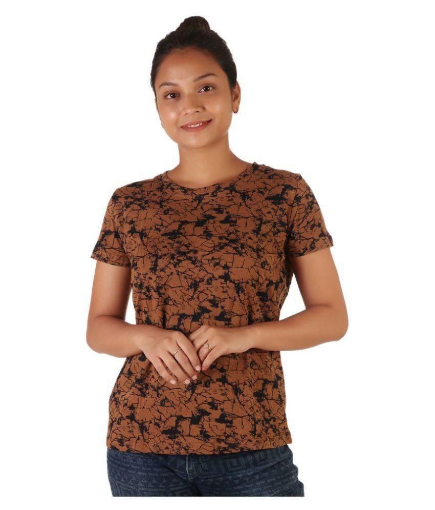 Leean Patterns Cotton Brown T-Shirts