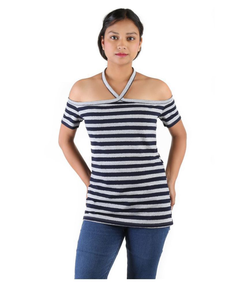 Leean Patterns Cotton Navy T-Shirts