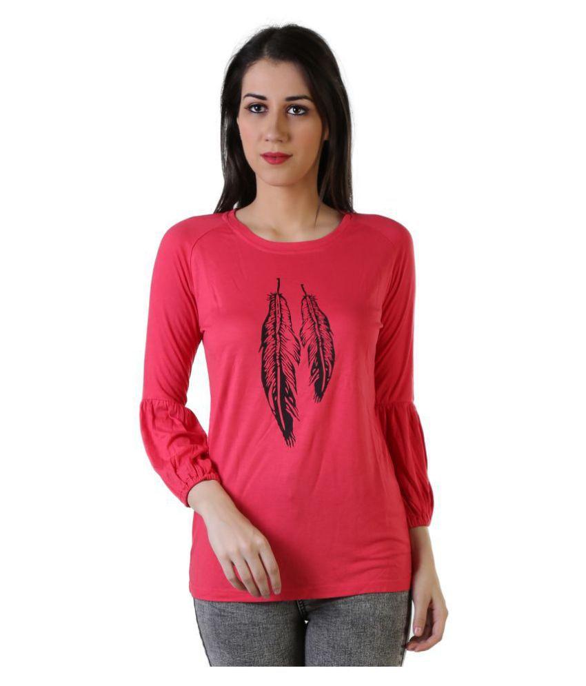 Leean Patterns Cotton Peach T-Shirts