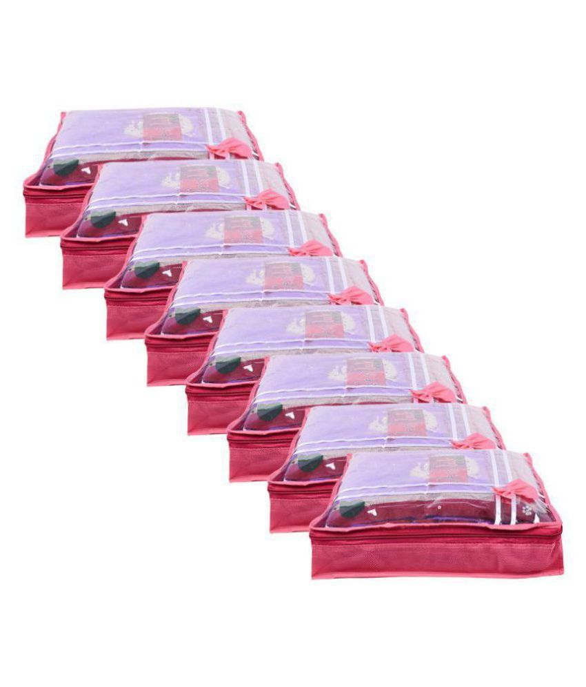 Bulbul Pink Saree Covers - 8 Pcs