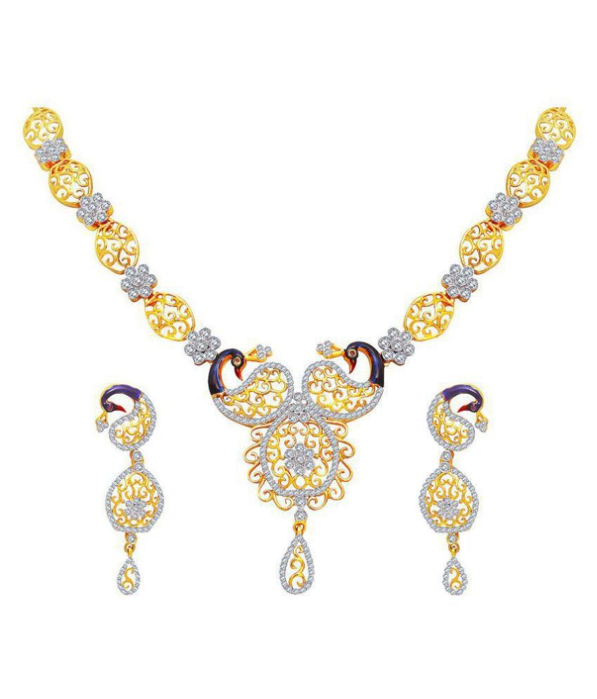 M J Fashion Jewellery Brass Golden Matinee Traditional Gold Plated Necklaces Set