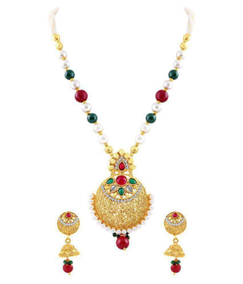 M J Fashion Jewellery Brass Golden Long Haram Traditional Gold Plated Necklaces Set
