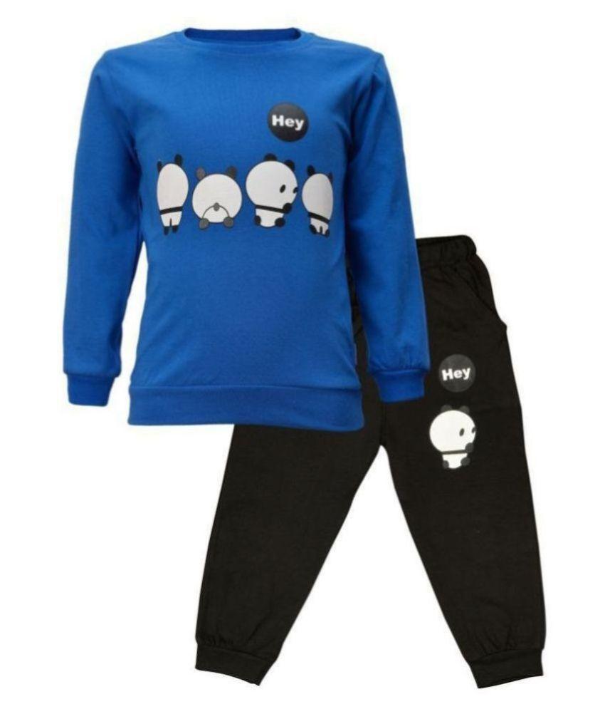CATCUB Kids Panda Combo Top & Pant Set (Blue)