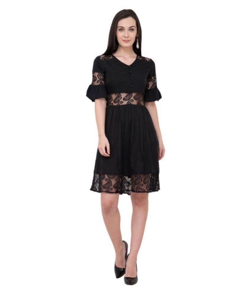 Karmic Vision Crepe Black Fit And Flare Dress