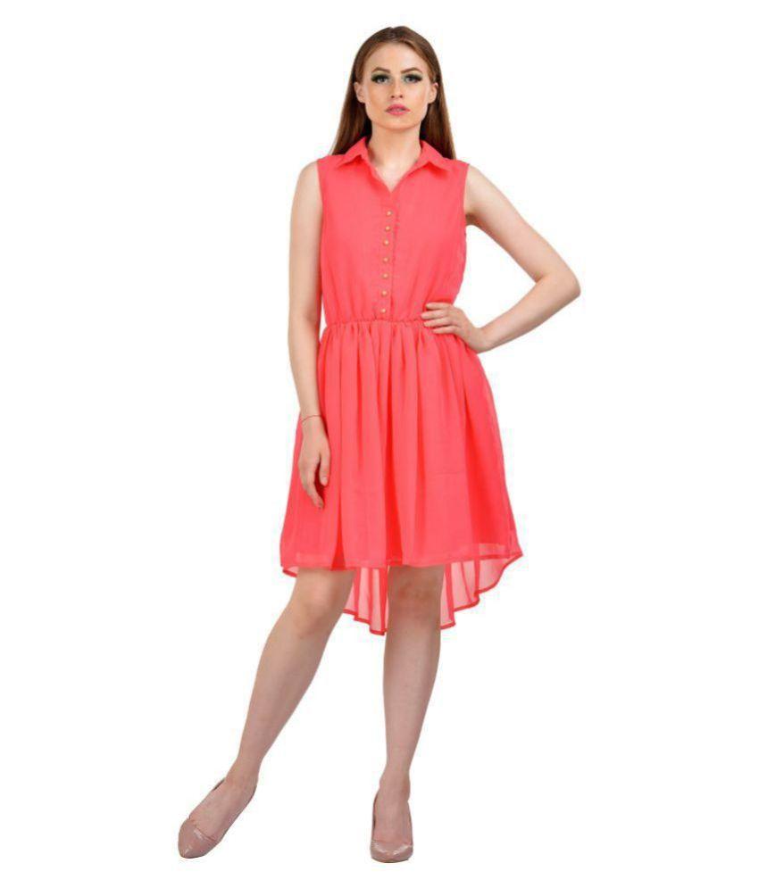 Karmic Vision Georgette Pink Shirt Dress