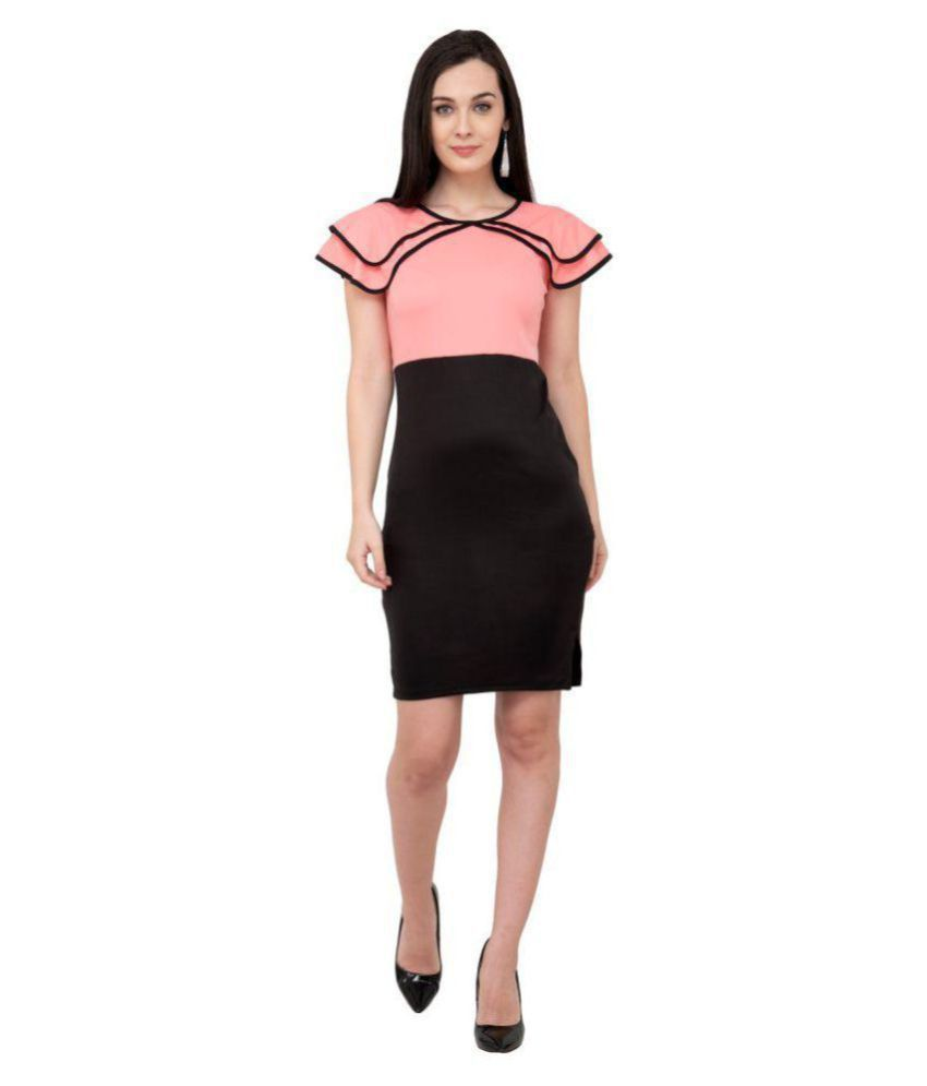 Karmic Vision Poly Viscose Pink Regular Dress