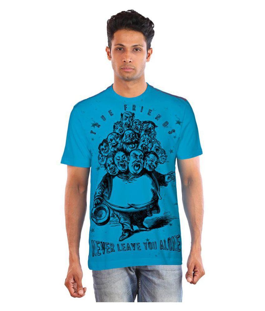 Huetrap 100 Percent Cotton Turquoise Printed T-Shirt