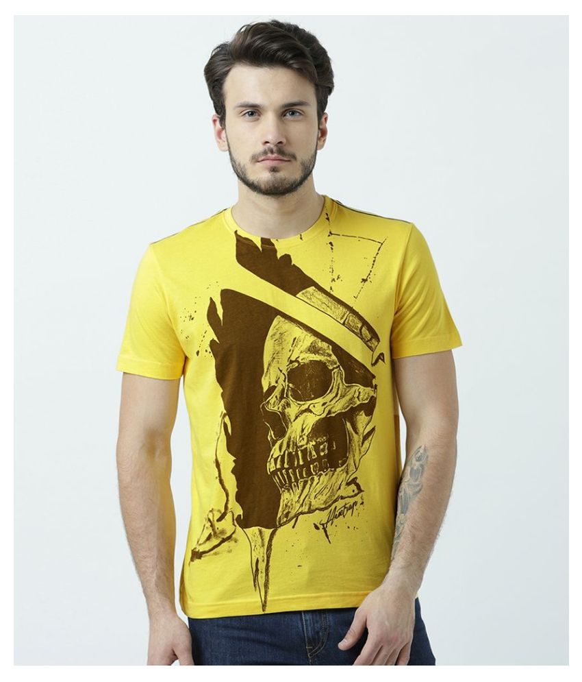 Huetrap 100 Percent Cotton Yellow Printed T-Shirt