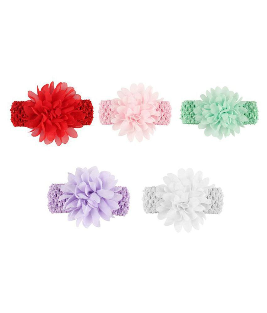 FOK 5 Pc Floral Flower Elastic Head Hair Bands For Babies Kids Girls