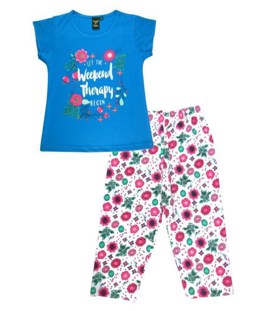 Todd N Teen Girls Cotton Casualwear, Nightwear, Loungewear With Capri 5 years