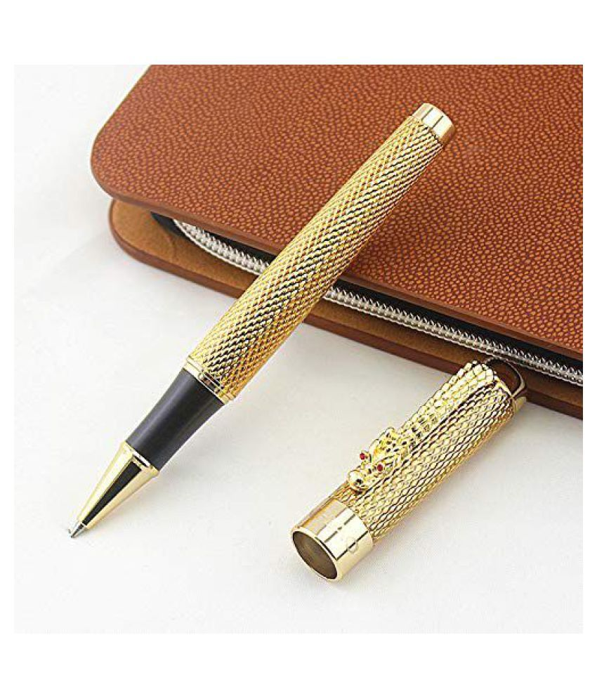 Hayman Jinhao 1200 Golden Dragon Carved Roller Ball Pen With Box(P-16)