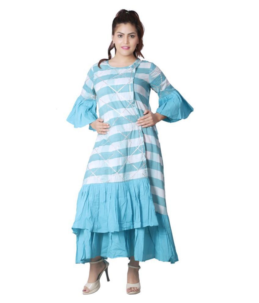 Zri Blue Cotton Straight Kurti