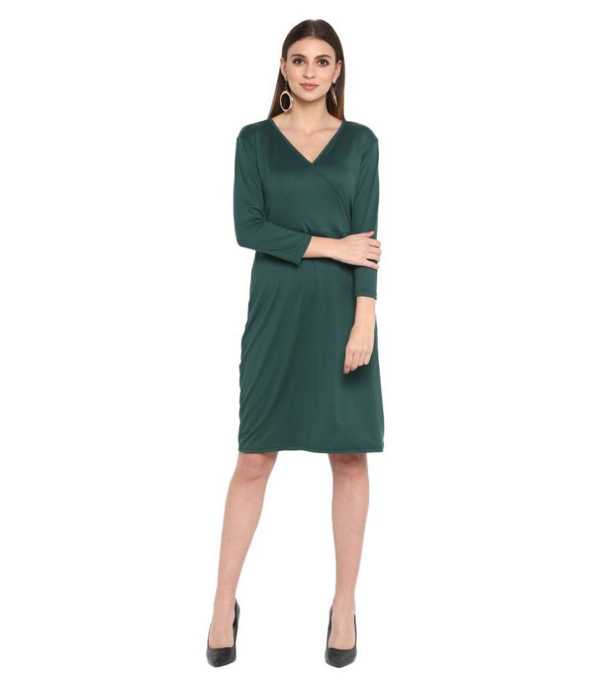 Color Cocktail Poly Cotton Green Wrap Dress