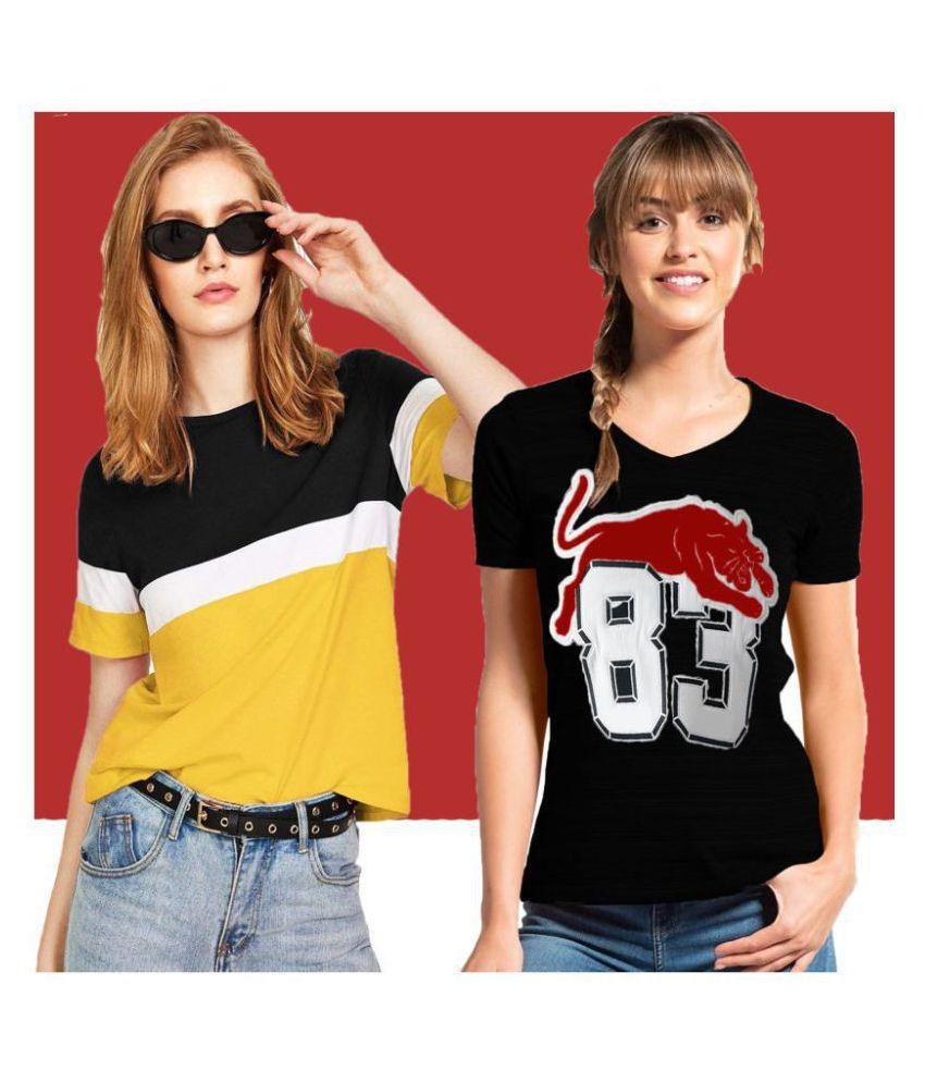 Leotude Cotton Multi Color T-Shirts