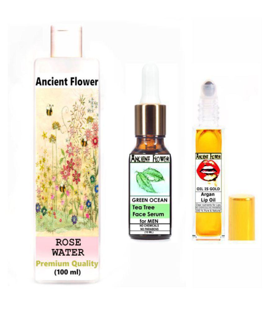 Ancient Flower Rose water, Oil is Gold Argan Lip Oil, Green Ocean Face Serum 118 mL