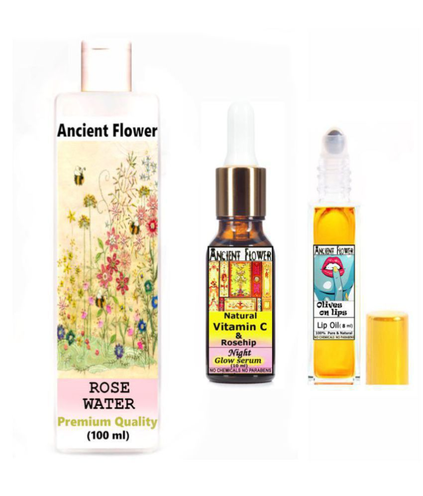 Ancient Flower - Rosewater, Olive On Lips & Nat Vit C & Rosehip - Face Serum 118 mL