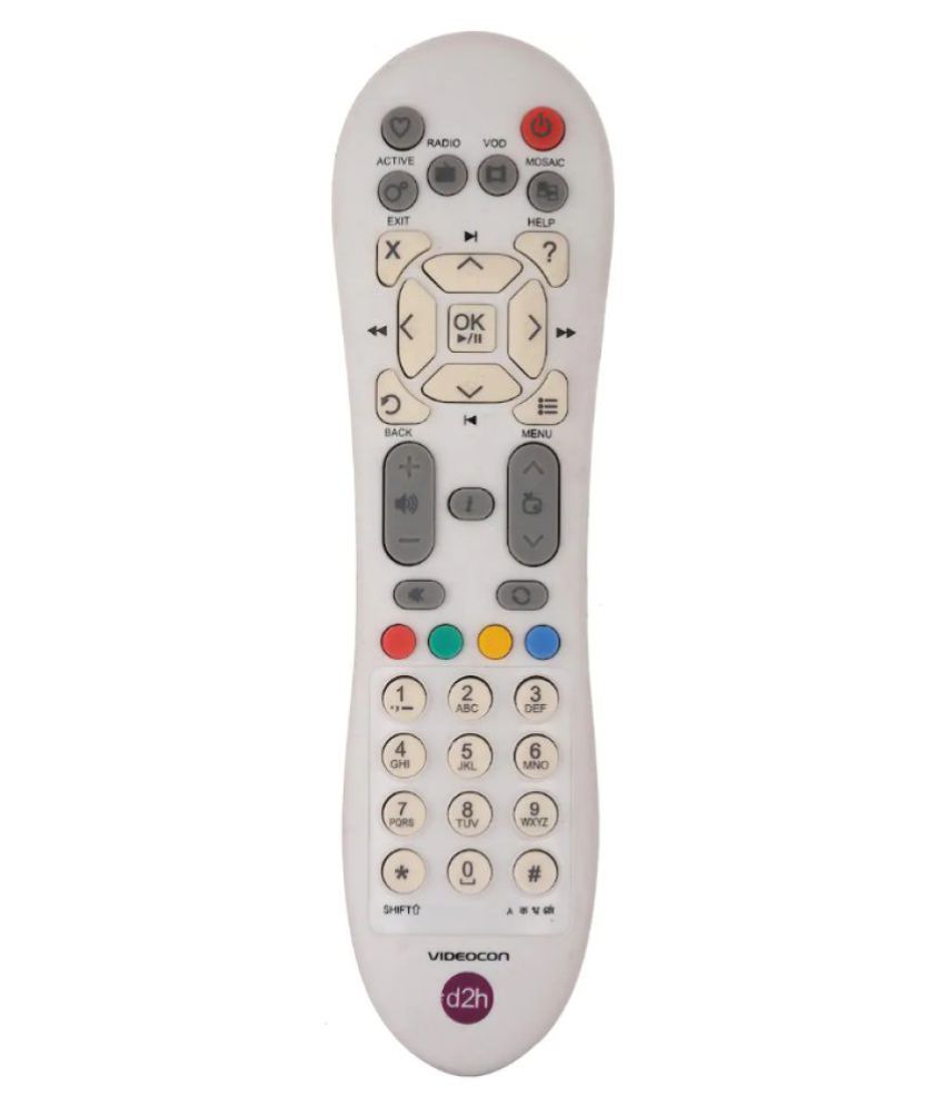 OSSDEN Set Top Box DTH Remote Compatible with Videocon D2H Remote white