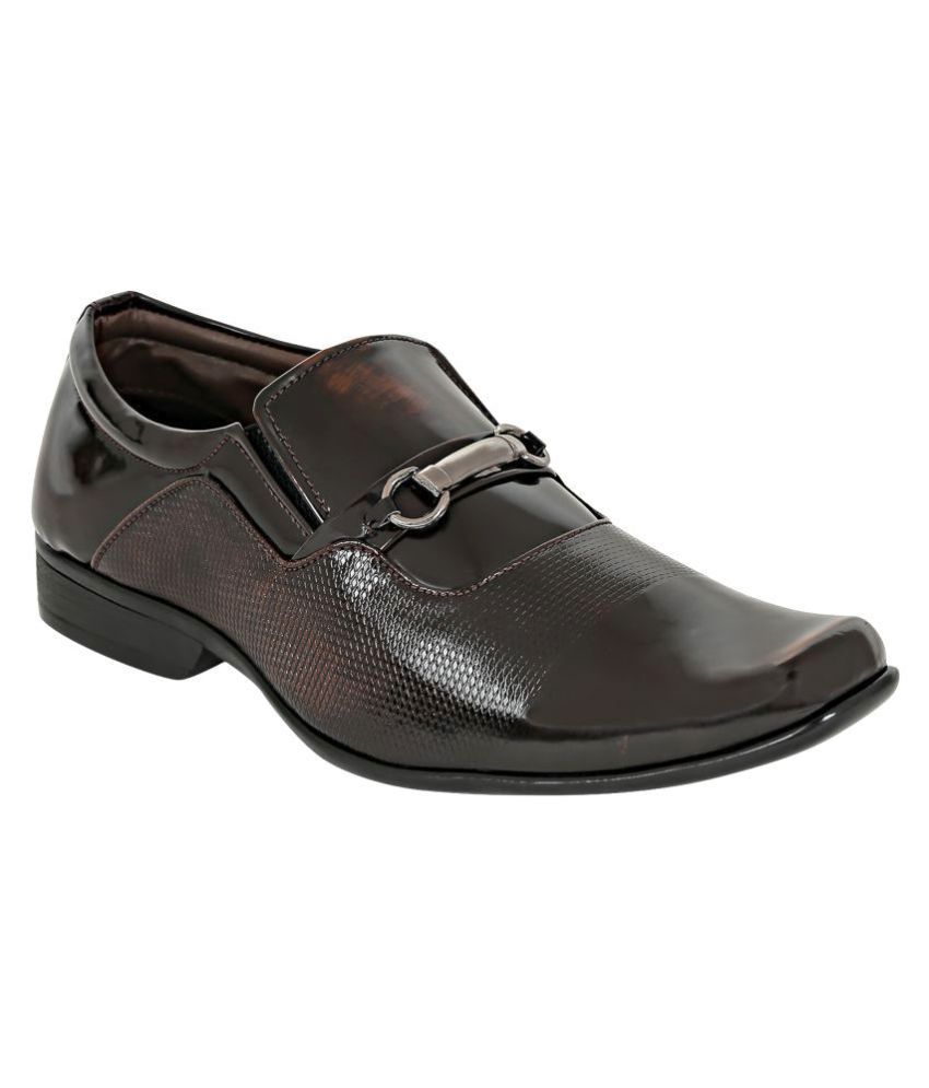 Footista Party Artificial Leather Brown Formal Shoes