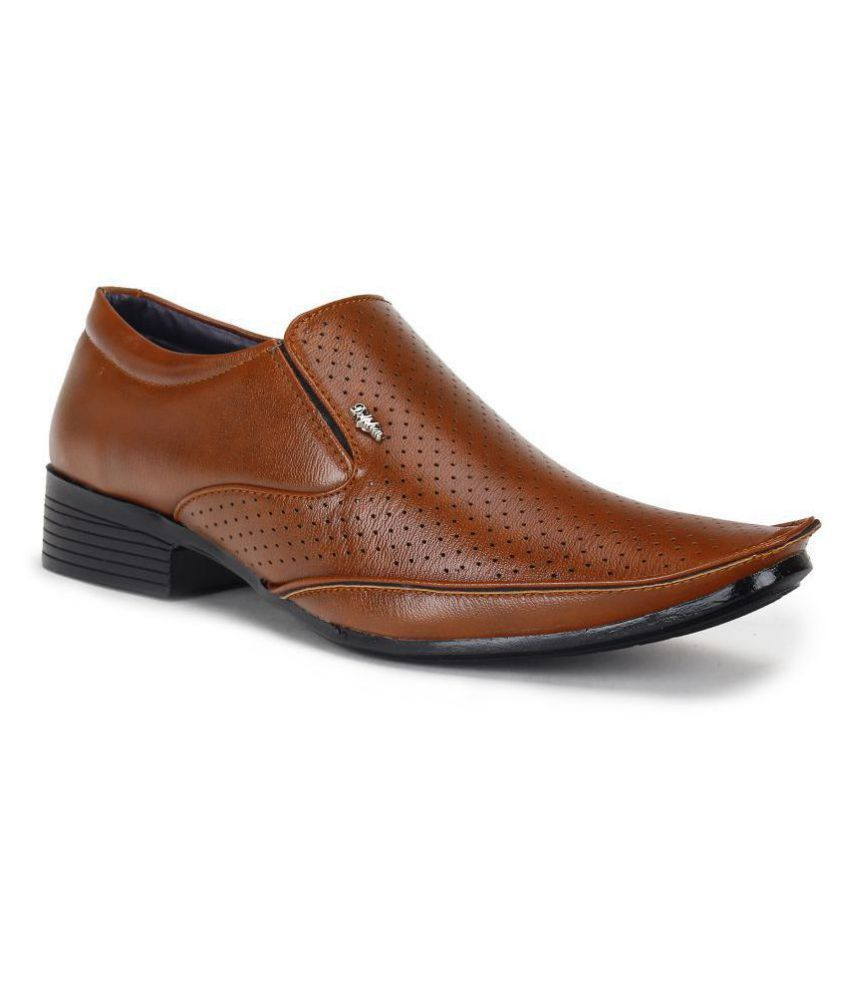 Footista Slip On Artificial Leather Tan Formal Shoes