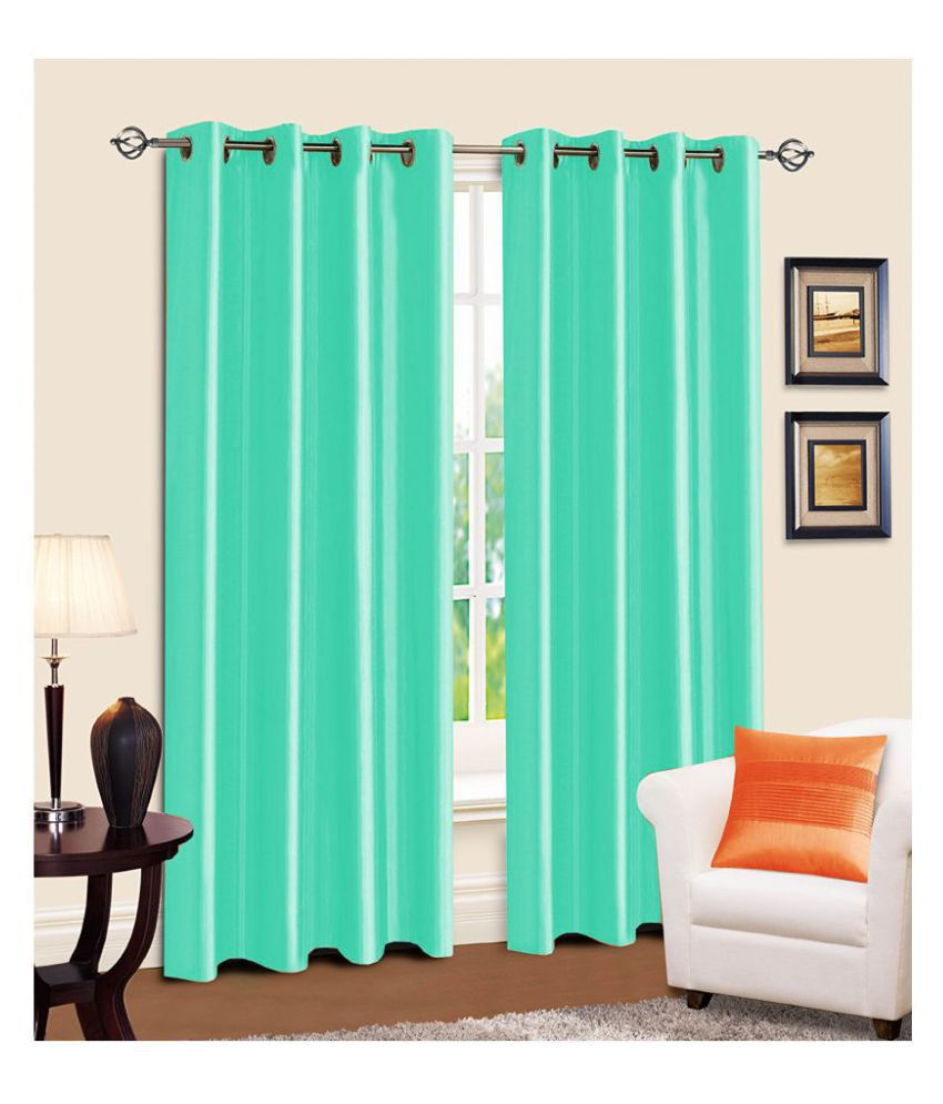 R home Set of 2 Door Eyelet Polyester Curtains Multi Color