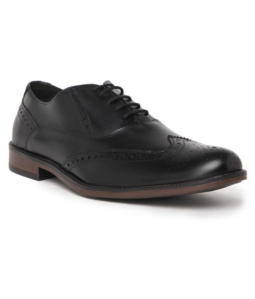 NOBLE CURVE Brogue Genuine Leather Black Formal Shoes