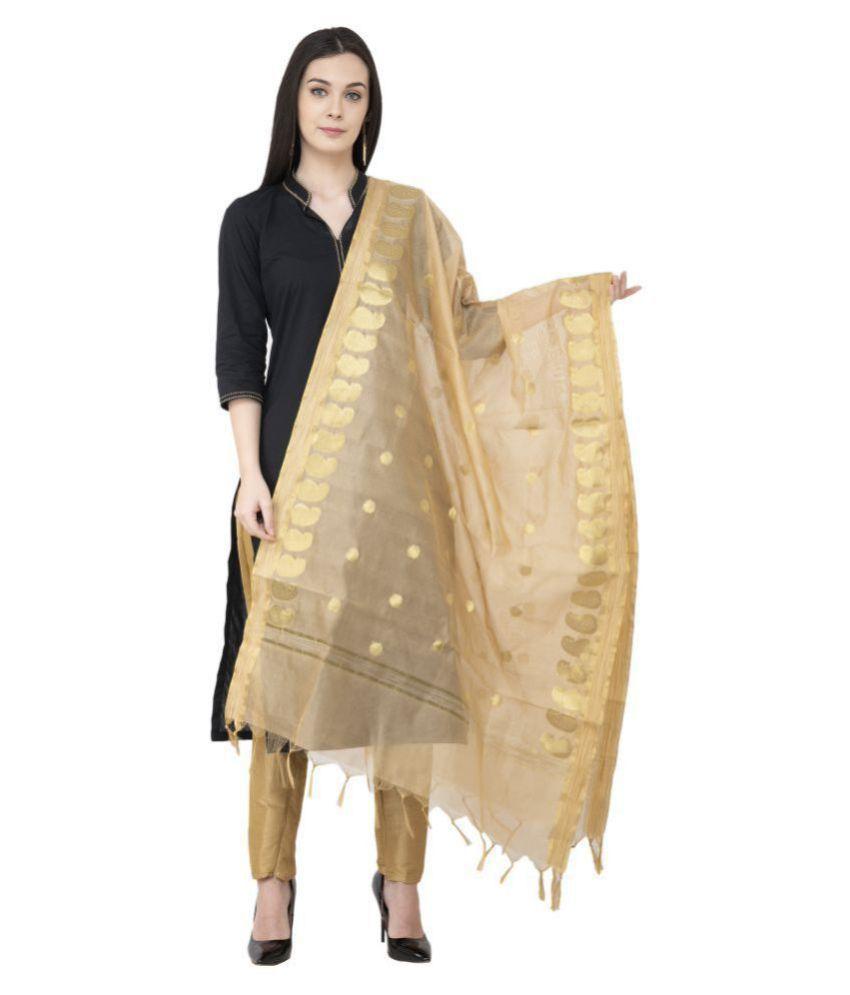 A R Silk Gold Chanderi Hand Embroidered Dupatta