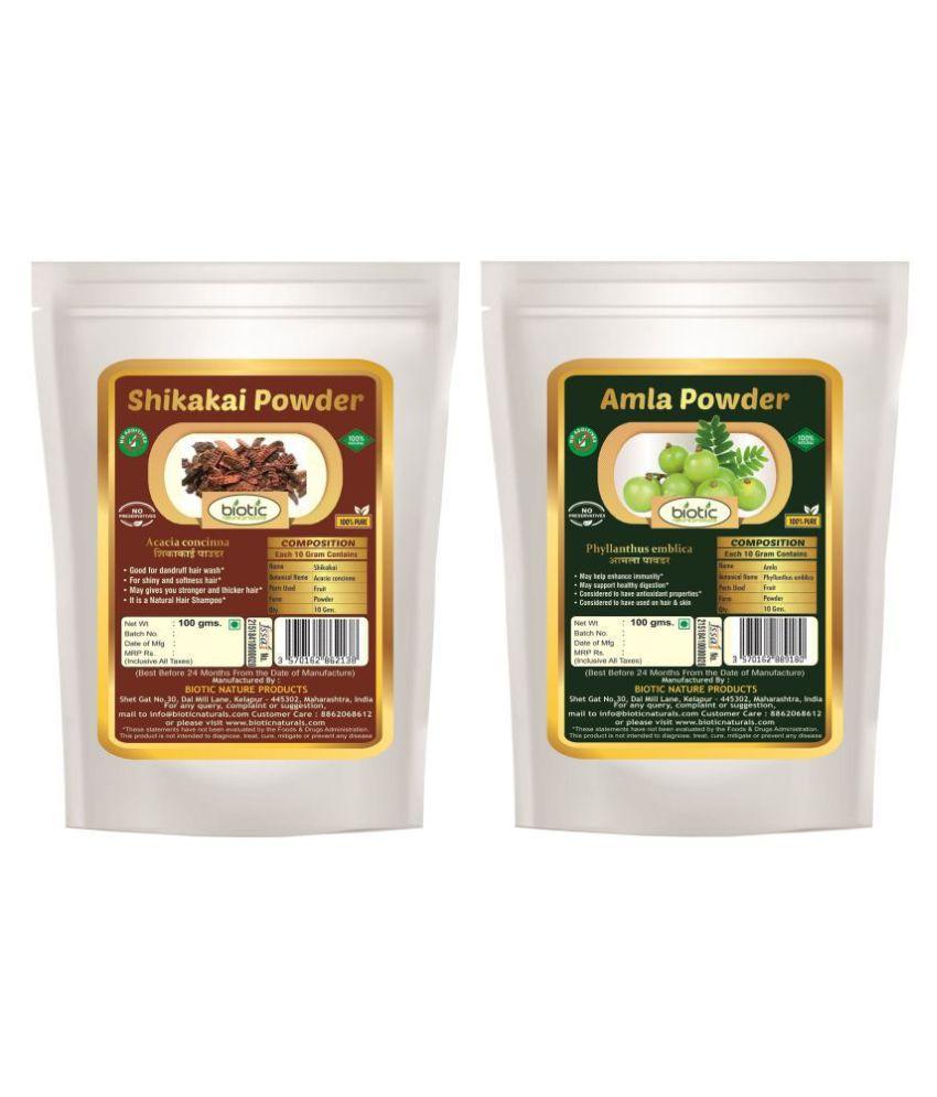 Biotic Natural Shikakai and Amla Powder - 200 gms(100 gms Each) Hair Mask 200 g Pack of 2