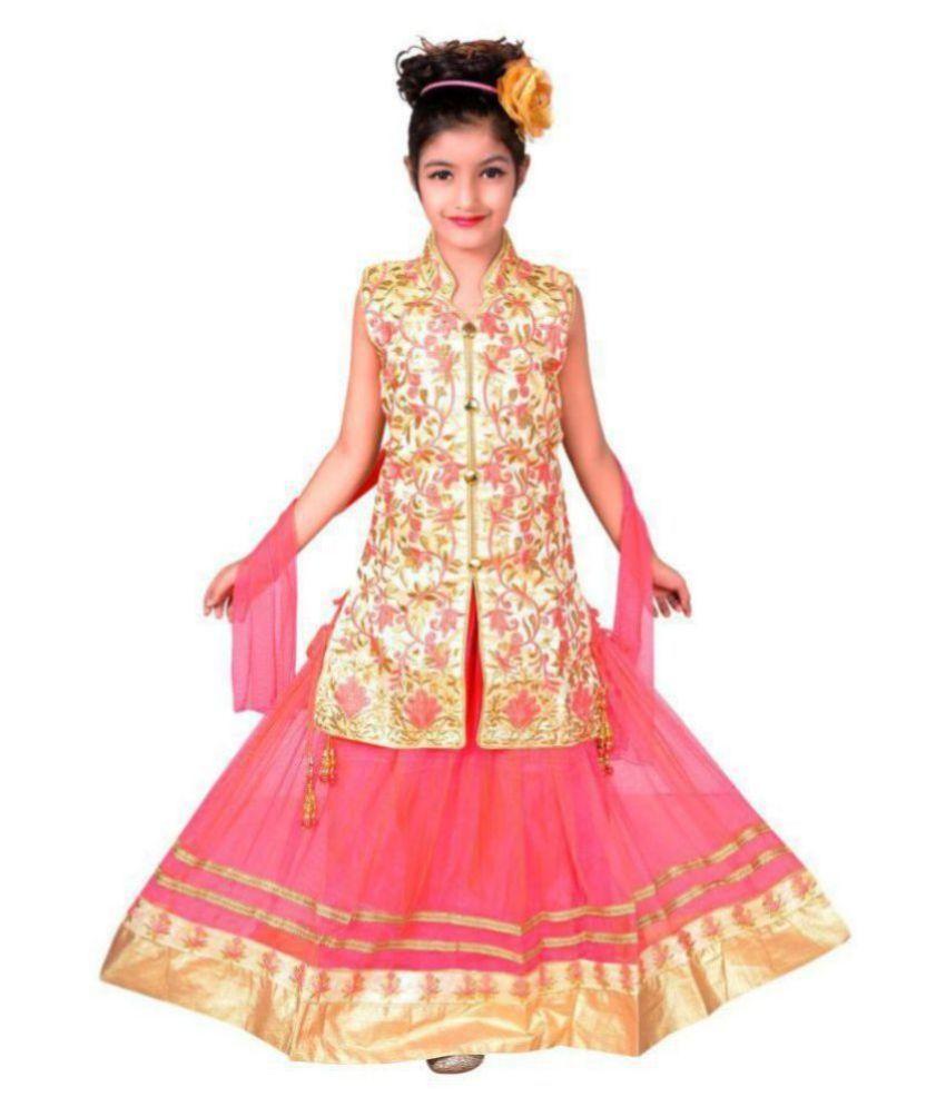 Sky Heights Girls' Blue Net Party Wear Lehenga Choli/ Ghagra (Ethnic Wear Dress for Kids) 8-9 years