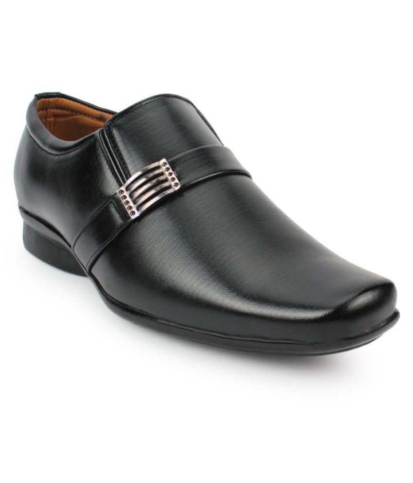 Fashion Victim Slip On Artificial Leather Black Formal Shoes